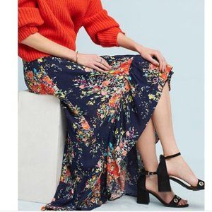 Anthro On The Road Rae Floral High-Low Wrap Skirt